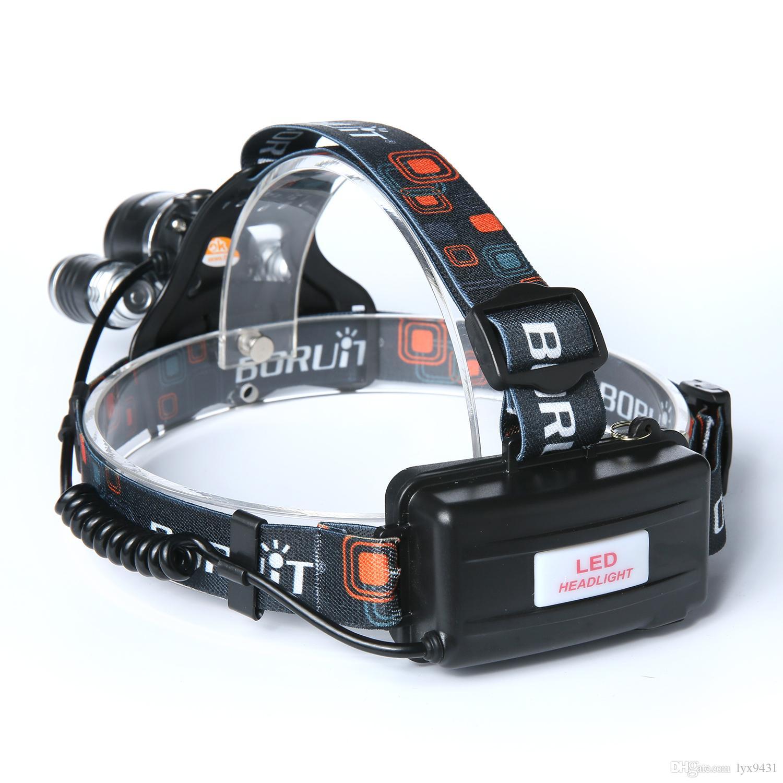 Boruit 6000LM 3x CREE XM-L T6 LED Headlight Headlamp RJ-3001 Head Headlamps Headlight Headlamp Head Lamp Light Torch USB Lamp Charge
