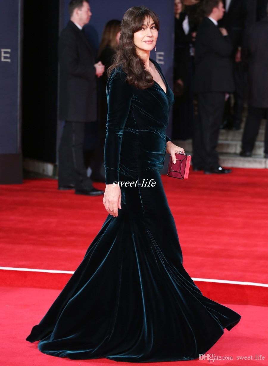 Ralph & Russo 2019 Dark Green Velvet Long Sleeves Celebrity Evening Dresses Mermaid Side Split Plus Size Red Carpet Gowns Prom Dress Cheap