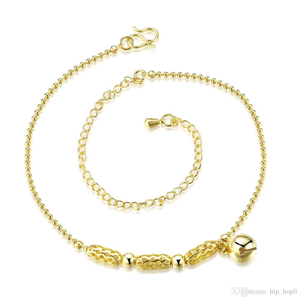 18K Gold Plated Cute Small Silver Bell Anklet Bracelets For Women Girls Leg Bracelets Foot Chain Jewelry Fashion Beach Anklet Lady Gift
