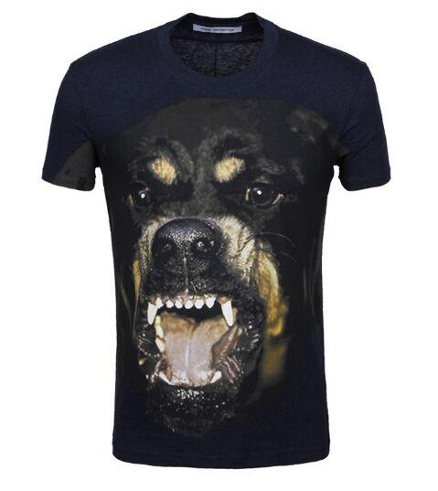 2016 جديد أزياء العلامة التجارية الرجال قصيرة الأكمام الرجال الصيف القطن الرجال الكلب طباعة تي شيرت جولة الرقبة تي شيرت