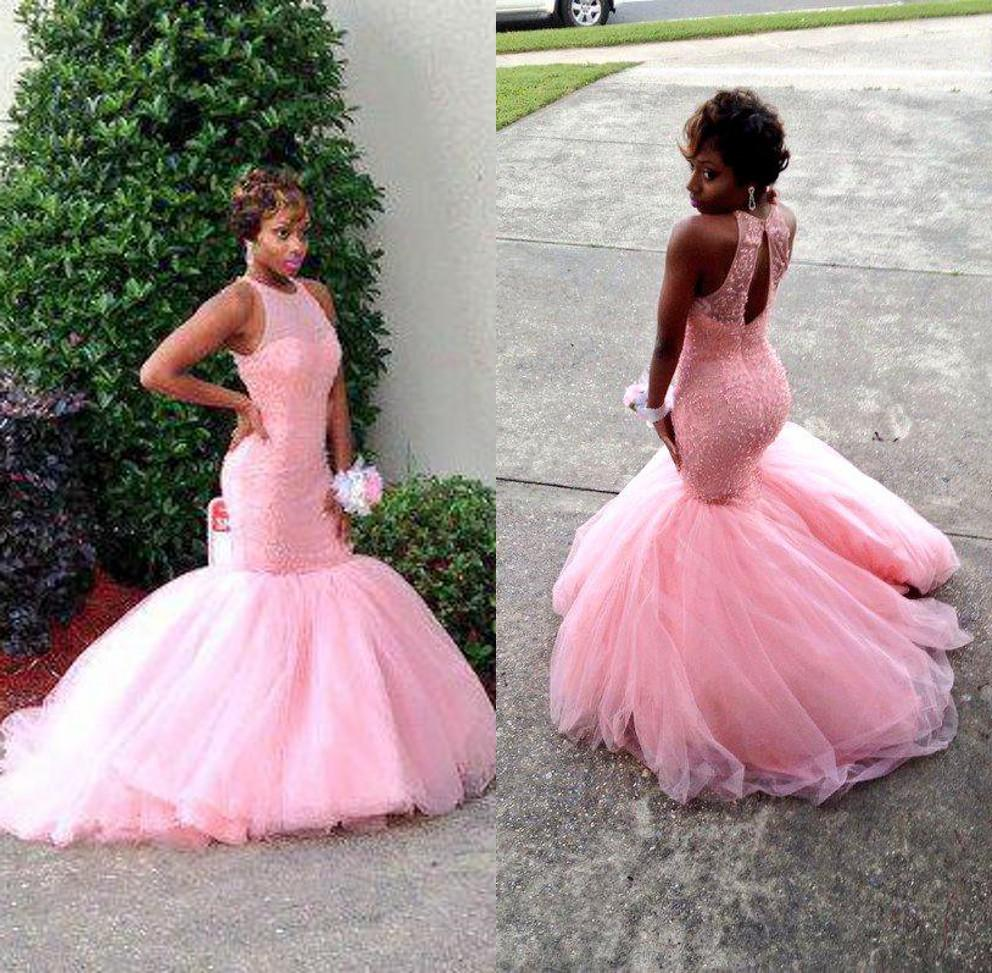 Pink Mermaid Prom Dresses 2017 Sheer Neckline Lace Beaded Fitted ...