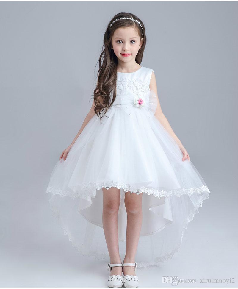 cheap for discount def63 e0147 Abiti da ragazza fiore bianco per matrimoni Tutu senza maniche Elegante  abiti da ragazza abito di trascinamento per la festa di nozze di nozze ...