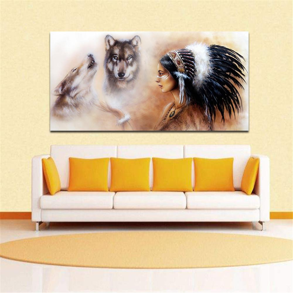 2018 Frameless Modern Abstract Oil Paintingamerican And Wolves Huge ...