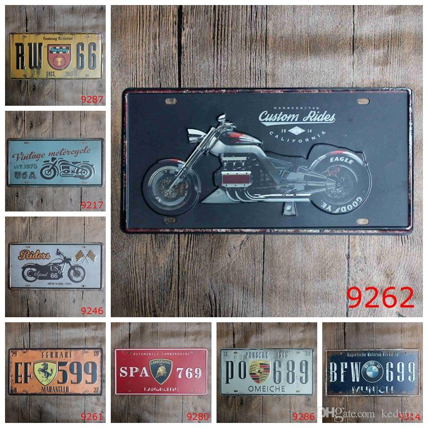 2018 Antique License Plates Retro Metal Tin Signs Riders Motorcycle ...