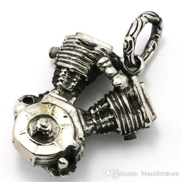 2 pçs / lote Suporte Dropship Motor Motor Pingente de Aço Inoxidável 316L Jóias Venda Quente Legal Motocicletas Pingente