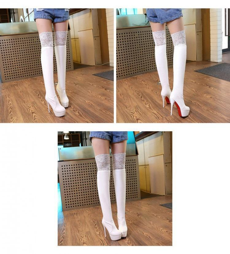 Ladies Lace boots Autumn and winter Genuine Leather PU Stiletto heel Thigh-High Boots Elastic jackboot Sexy Black and white women boots