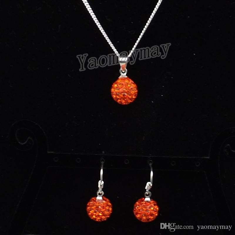 Orange Disco Ball Pendant Earrings And Necklace Crystal Jewelry Set For Women Wholesale