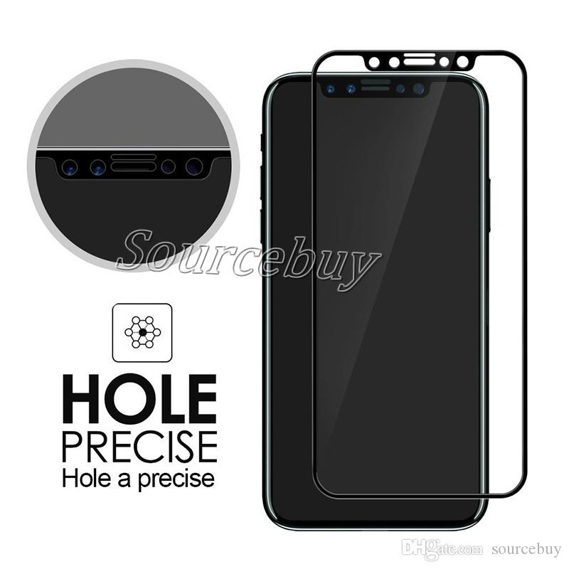 Good Quality For iPhone X Tempered Glass Front Film Full Cover 9H hard Screen Protector For iPhoneX Curved Edge Film Full Coverage Black