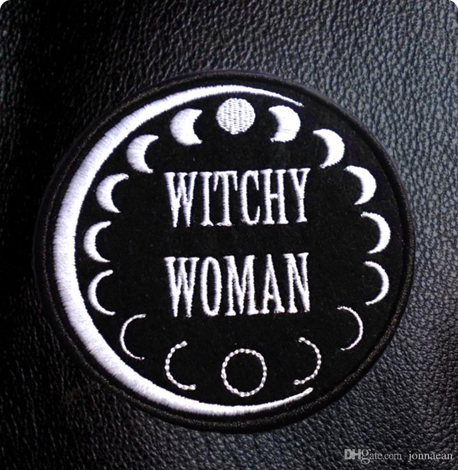 WITCHY WOMAN Coolest Bordado Lady Patch Iron On Patch Rock Punk Etiqueta SOCIEDAD Moon's Change Badge Sombreros Camisas Emblema Al Por Mayor Envío Gratis