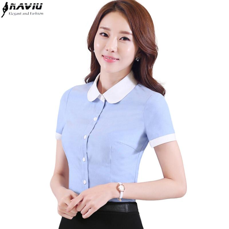 a7aba4a9ed8a7e 2019 2016 Summer New Women Patchwork Shirt OL Fashion Formal Peter Pan  Collar Short Sleeve Slim Blouse Office Ladies Plus Size Tops From  Erindolly360b