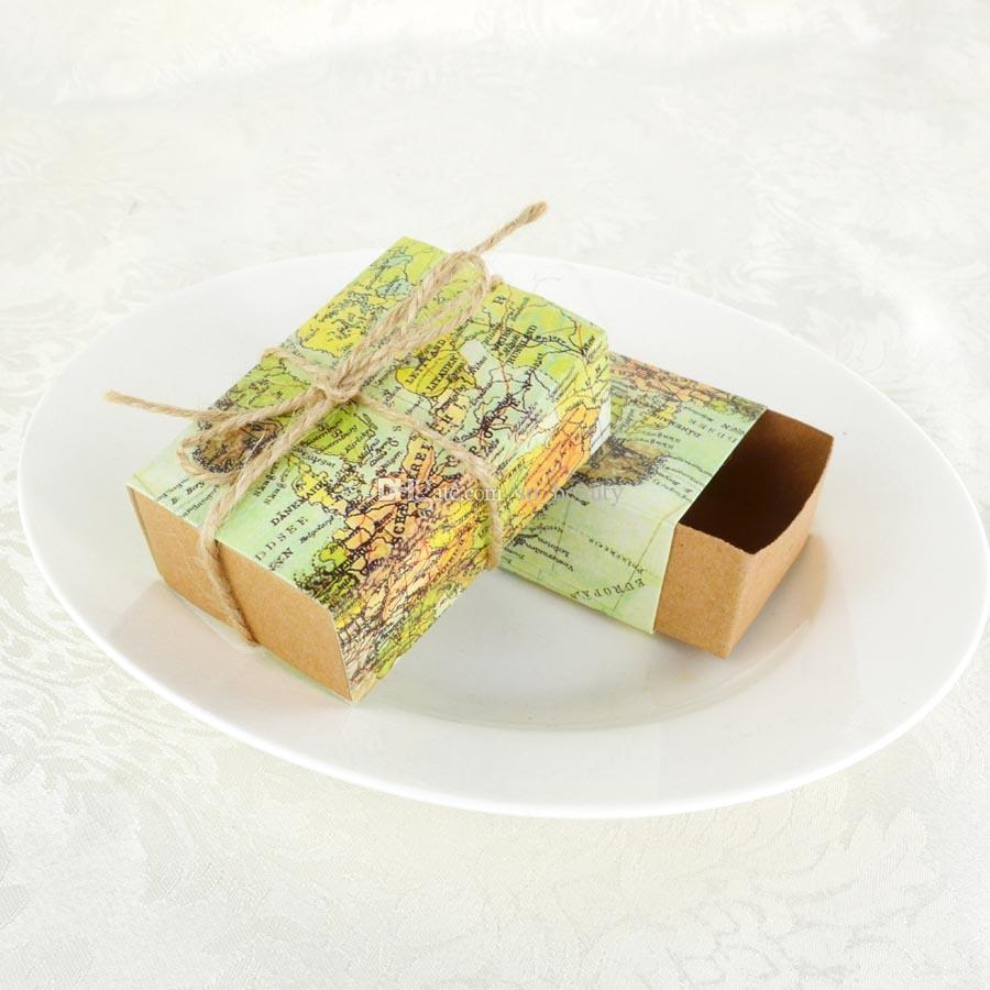 Retro Map Kraft Candy Boxes Wedding Faovrs Christmas Anniversary Party Gift Paper Box Green