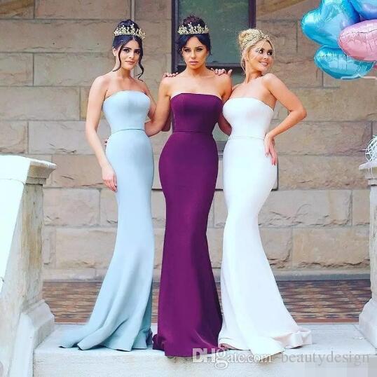 2018 nuevos vestidos de dama de honor de la sirena simple de la manera vestido de fiesta de la longitud del piso del amor del satén de la longitud largo de la criada de los vestidos de honor por encargo