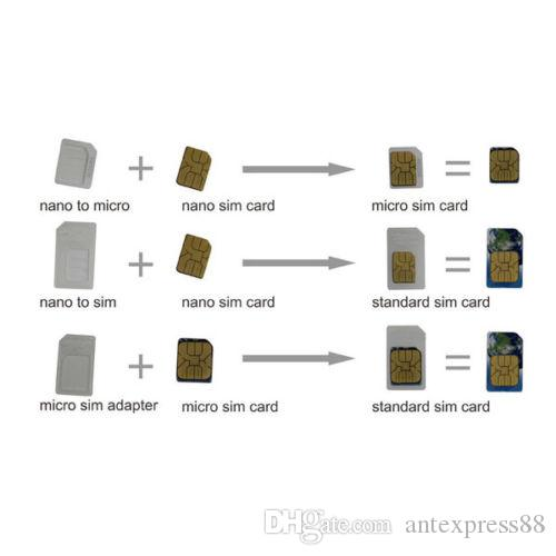 Adaptador Nano Micro Standard Sim Card Converter para Samsung S7 Iphone 5 6 s más Note5 01