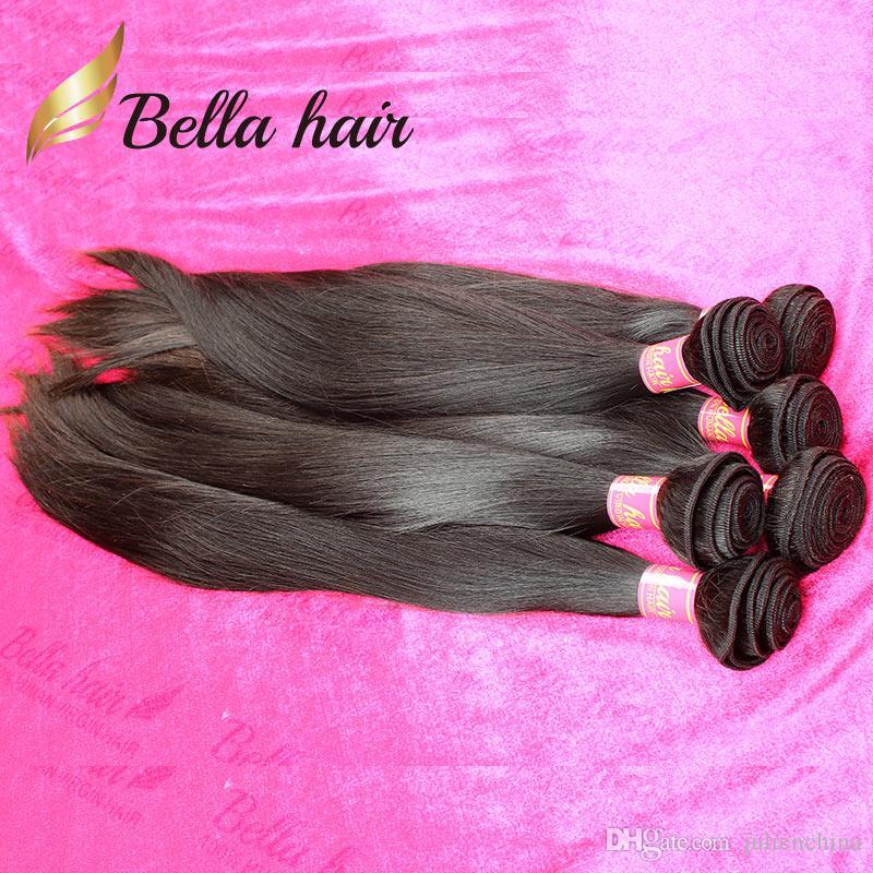 Bella Hair® 11a 더블 익사 브라질 버진 헤어 번들 페루 스트레이트 헤어 짜다 처리되지 않은 원시 인도 인간의 머리카락 확장