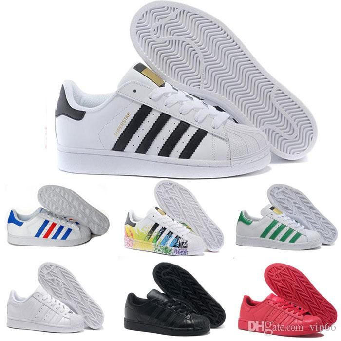 new style e3e97 220f3 2018 Originals Superstar color Cheap Men Women s Lover Originals Superstar  Trainer Shoes White Black Blue Red Athletic Sports Running Shoes