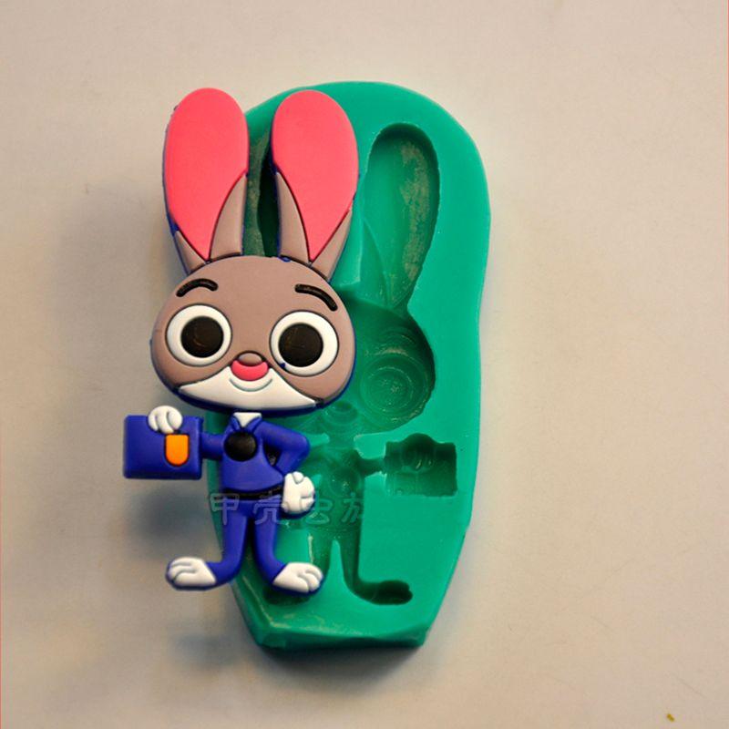 Großhandel Cartoon Zootopia Kaninchen Judy Cop Silikon 3d Formen ...