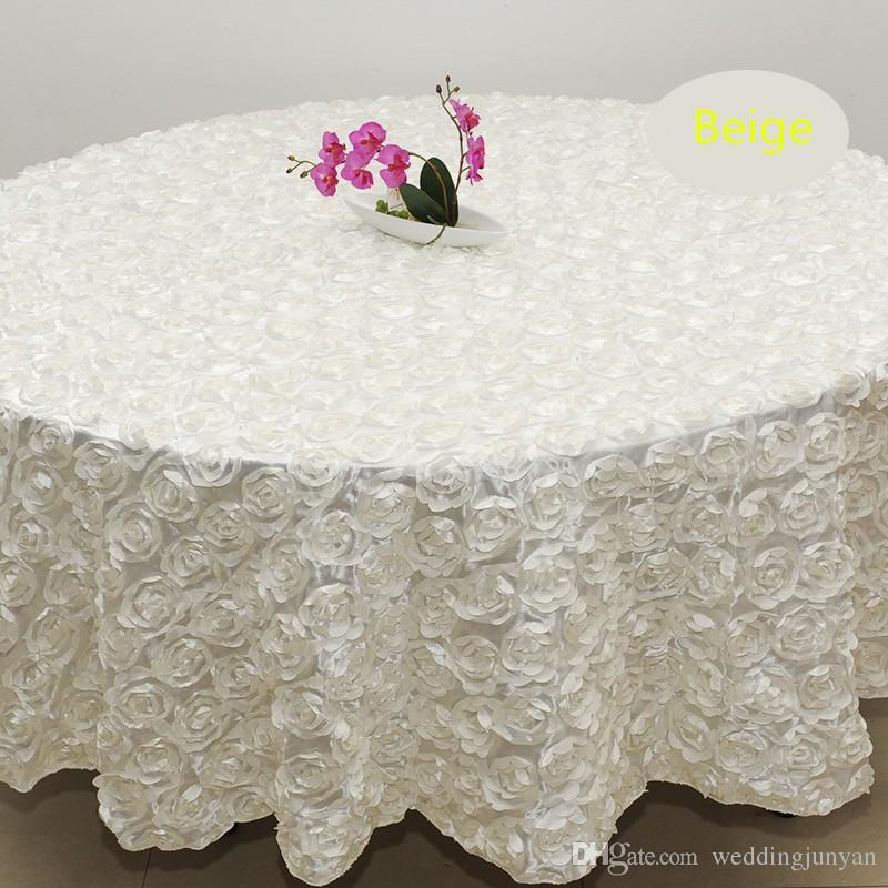 455e010f38e63 2.4m White Color Wedding Table Cloth Round Overlays 3D Rose Petal Round Tablecloths  Wedding Decoration Supplier Flannel Backed Vinyl Tablecloth Table Linens ...