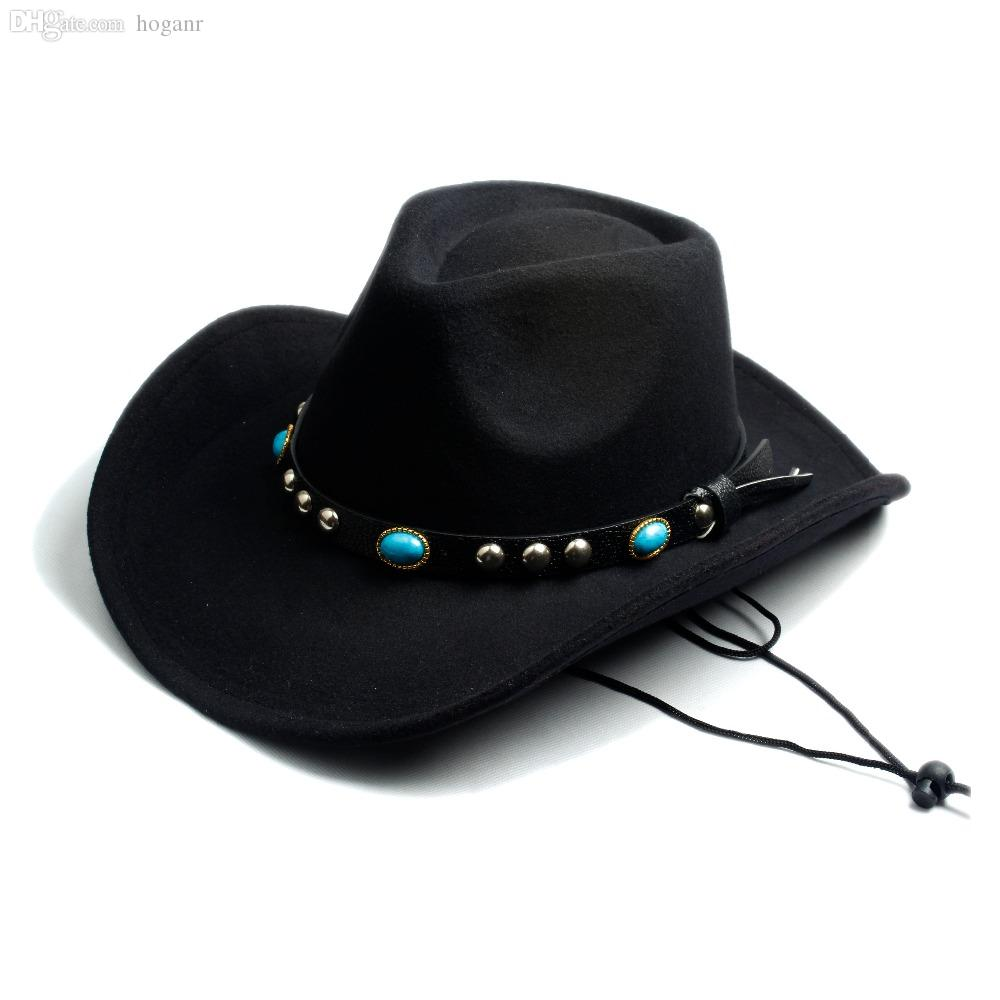 3d671983825ad Wholesale-Men Women Fashion DIY Felt Fedora Hat Western Cowboy Cowgirl Cap  Jazz hat Sun Hat Toca Sombrero Cap with leather band 10