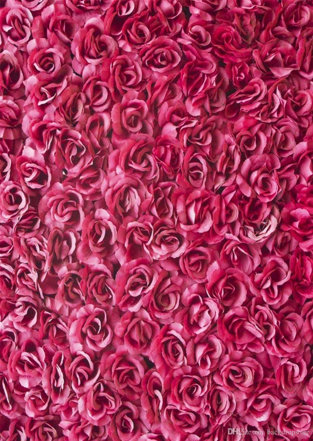 2018 Pink Flowers Wall Backdrop Photography 3d Roses Digital Printed