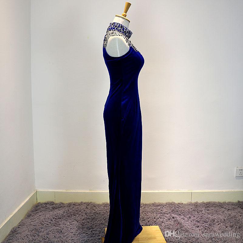 Beaded veludo bainha vestido de noite com halter neck 2017 azul royal long dress festa elegante foto real