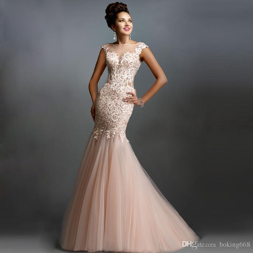 bf48dad46 Compre Sexy Lace Elegant Mermaid Prom Dresses 2019 Vestido De Noche Largo Para  Prom O Neck Cap Sleeve Formal Longo Robe De Soiree Por Encargo A  115.25  Del ...