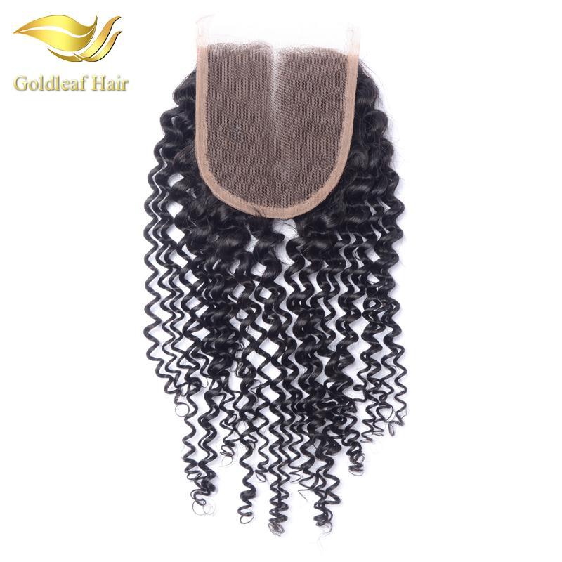 Rizado rizado Cierre 100% cabello humano virgen 4X4 Rizado rizado Cierre de encaje Nudos blanqueados Medio libre 3 Partes Cierre de Malasia