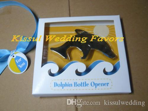Classic Beach Theme Wedding gift for guests of Playful Dolphin Chrome Bottle Opener Wedding Favor and Party Favor