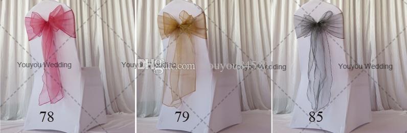 Burgundy 8 '' * 108 '' Organza Chair Sash / Stol Bow Gratis frakt med gratis frakt för bröllop, fest, användning