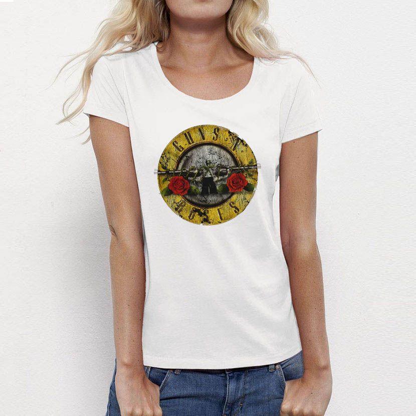 a4f7f02e9 Compre Venta Al Por Mayor USAprint Ropa Guns N Roses Rock Roll Camisetas  Mujer Top Tee GNR Camiseta Blanca Femme Algodón Hip Hop Vintage Summer  Style Barato ...