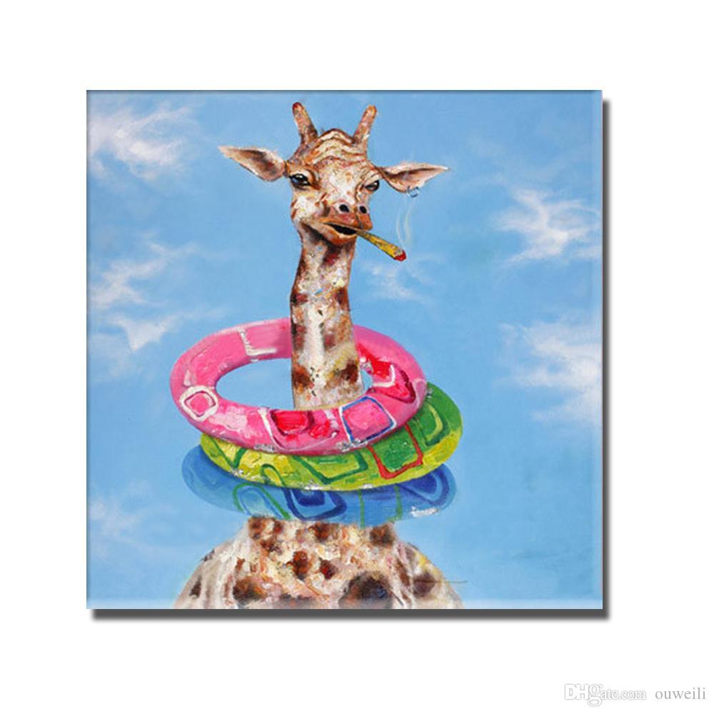 Nice design decorative animal giraffe smoking picture cartoon animal design modern abstract oil painting for bedroom