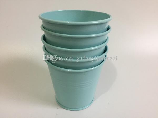 D9XH8CM Mini Garden pots Tin Succulents Planter Mini Buckets for small plant Light Blue iron flowerpots SF-060