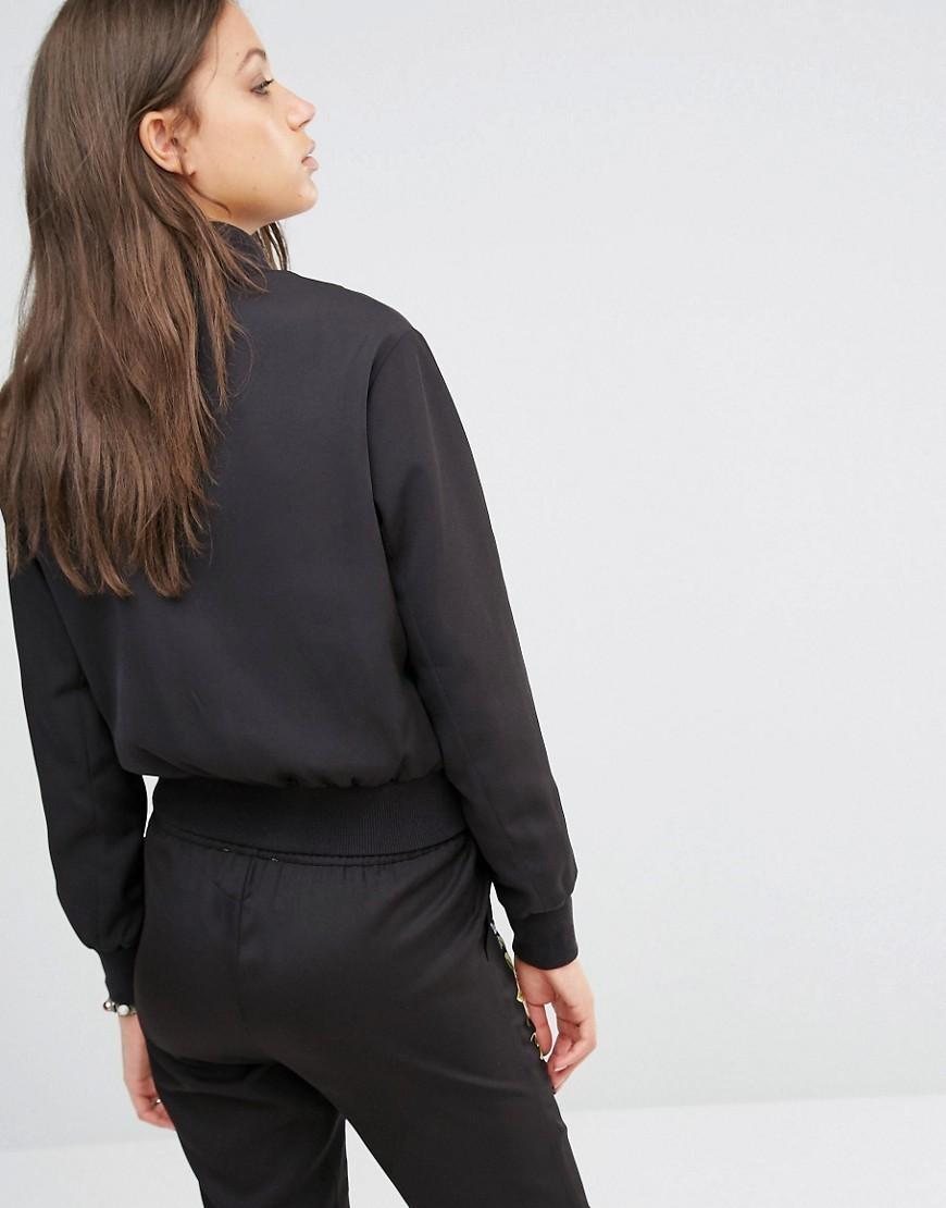 Foreign trade all-match single European style retro art embroidery fall short black coat female flight jacket