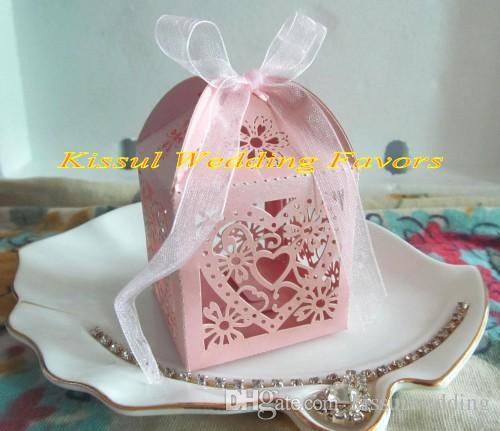 100 шт./лот любовь Сердце лазерная резка свадебный подарок коробки для свадьбы пользу коробки и конфеты коробки белого золота розовый для выбора бесплатная доставка