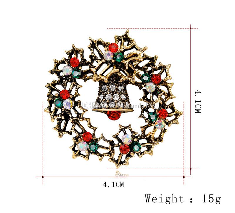 Brand New Christmas Broche Vintage Alliage Strass Noël Bells Broches Broches Antique Gold et Sliver Plaqué DHL Livraison Gratuite