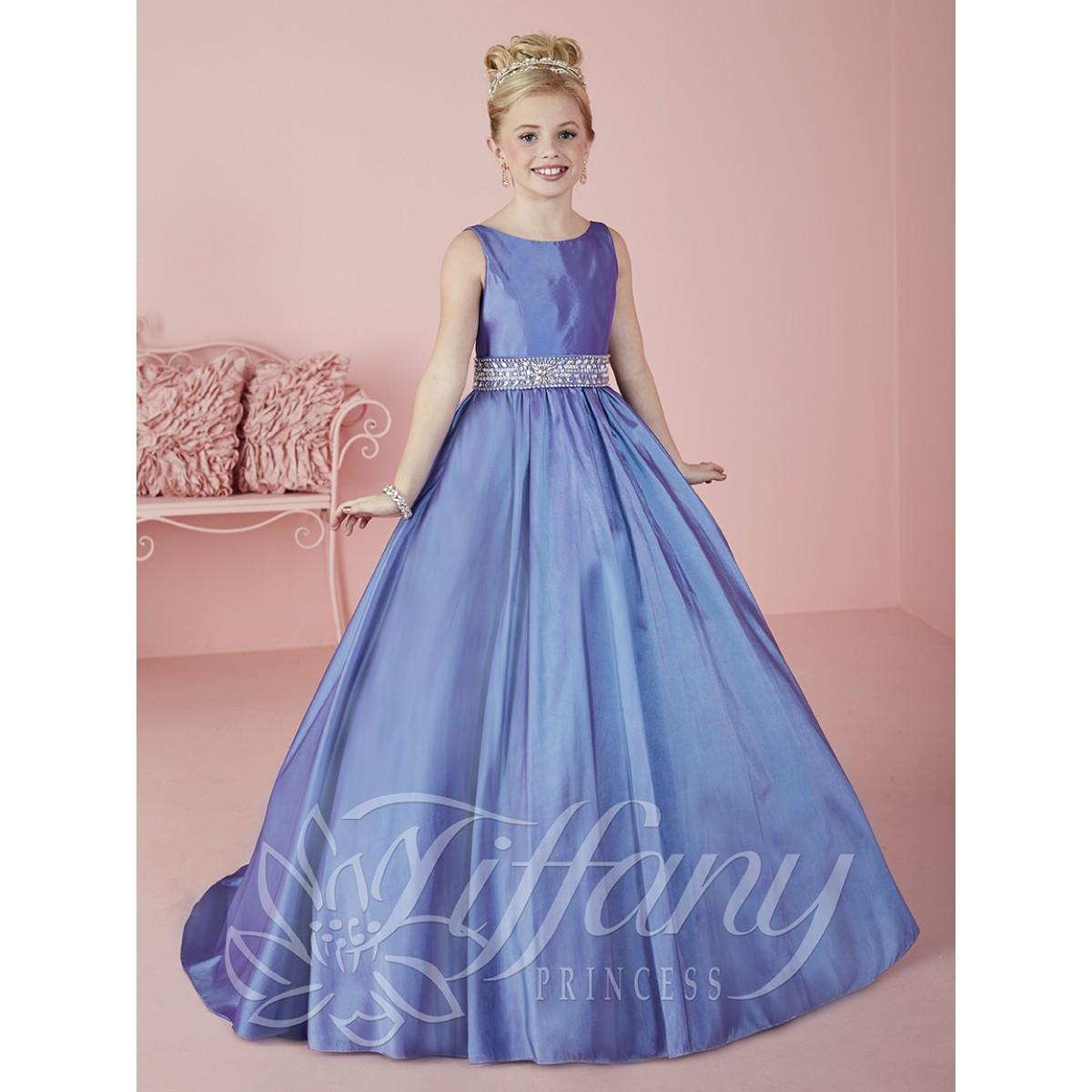 Compre 2016 Moda Scoop Azul A Line Girls Pantalones Vestidos Beading ...