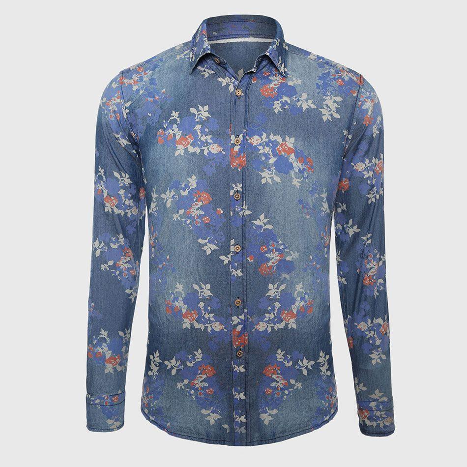 e026befbf12 2019 Wholesale Men Classic Denim Shirts Long Sleeve Floral Shirt Slim Fit  Gentleman Social Clothes Flower Print Pattern Western Style Navy From  Stepheen