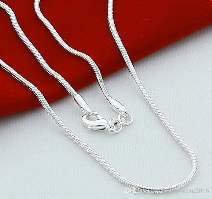 High Quality 925 Sterling Silver Chains Necklace 1mm Snake Chain Necklace 16inch/18inch/20inch/22inch/24inch Jewelry