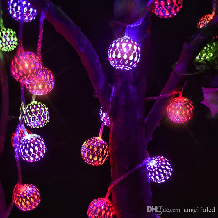 New Morocco Ball Solar Led Strings Outdoor Holiday Lighting Led Christmas Lights Garden Lights Wholesale Led Battery Operated Lights