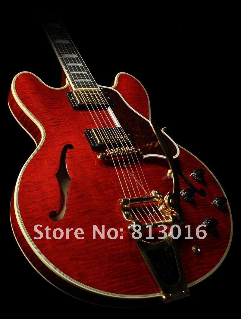 Custom Limited Run Curly ES Semi Hollow Electric Guitar with Bigspy Transparent Red Flame Maple Top Jazz Guitars China Musical Instruments