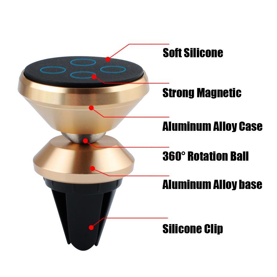Universal Magnético 360 Grados de Rotación Mini Car Air Vent Holder Aleación de Aluminio Imán de Metal de Escritorio para iPhone Samsung Teléfono Inteligente