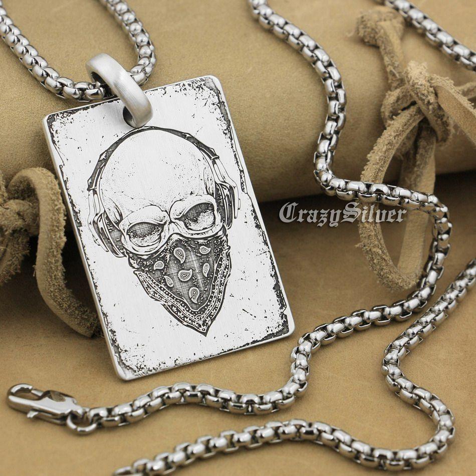 Haute précision détail gravé personnalisable 925 Sterling Silver Skull Dog Tag Mens Biker Rocker Punk Pendentif 9X001 acier collier 24