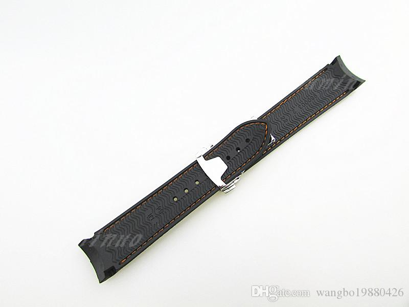 20mm High Quality Black With Orange stitched Diver Rubber band strap with Silver deployment clasp For omega watch