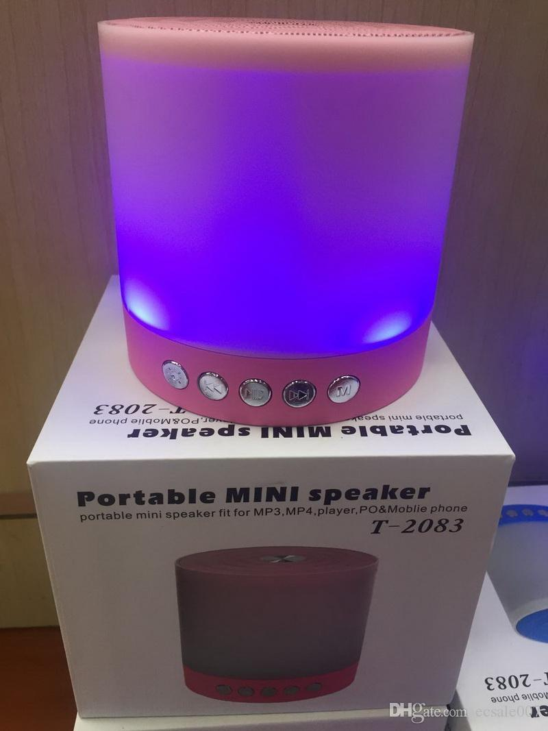 Wireless Bluetooth Speaker With Dazzle Night LED Light Portable Stereo Sound Subwoofer Loudspeaker support TF USB FM Handsfree MIC T-2083
