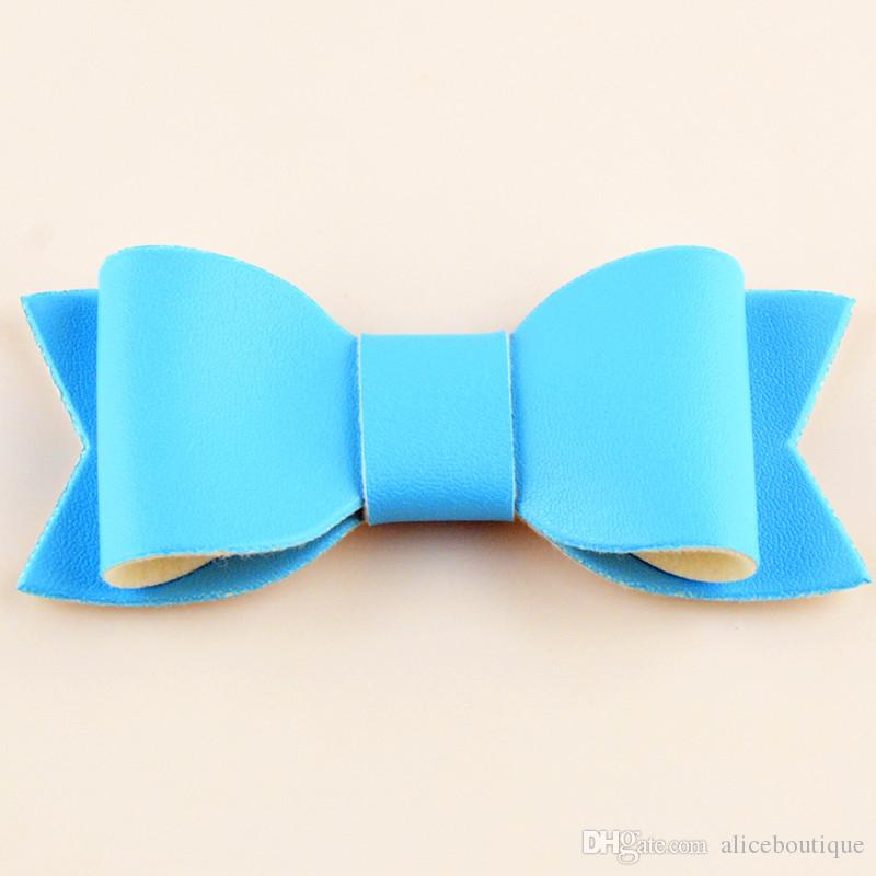 New PU Leather Barrettes Synthetic Leather Bow Hair Clips Baby Girls Felt Bowknot Baby Hairpins H0220