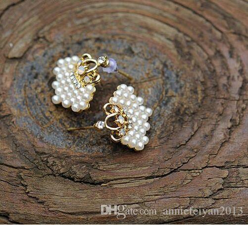Fashion Pearl Ball / Pearl Crown / Mushroom Head Pearl Rhinestone Luxury Orecchini Gioielli da donna Compleanno / Matrimonio / Regali di San Valentino
