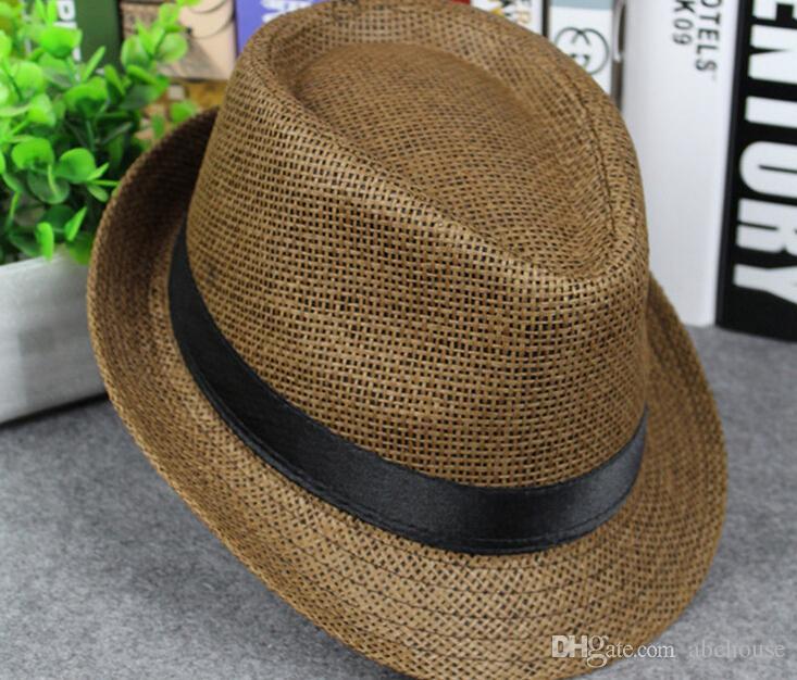 Compre Hombres Y Mujeres Libres Del Envío Sombreros De Paja De Panamá  Sombreros De Ala Del Ala De Fedora Stingy Sombrero Suave Para Unisex es  Verano Sun ... f525927981b1