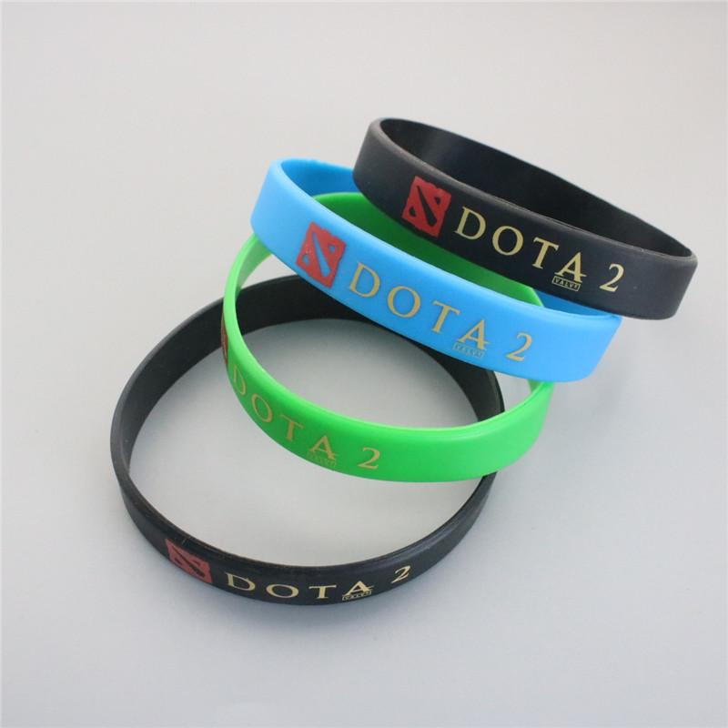 Hot Game DOTA 2 Logo Silicone Wristband Bracelets Green Blue Black Charm Bracelets For Uniisex Hot Sale