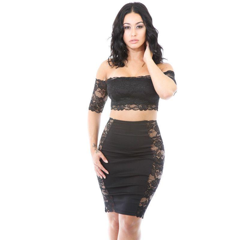 55651b41ca4 2017 New Summer 2 piece set women lace dress sexy strapless bodycon bandage  dress slash neck black party dresses clubwear vestido de festa
