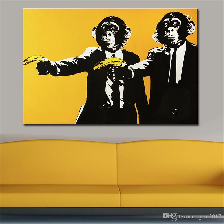 Andy warhol banana scimmia immagini murali pittura a olio creativa pittura su tela top idea decor wall art la pittura murale no incorniciato