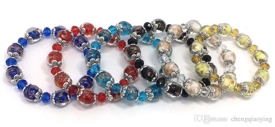 Yepyeni moda takı bilezikler 24 adet başına 6 renkler karışık cam ve kristal boncuk ayarlanabilir bilezikler drop shipping